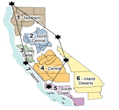 Map of Areas We Serve - Northern CA, Northern Central CA, Bay Delta CA, Central CA, South Coast CA, Marine CA, Inland Deserts NV