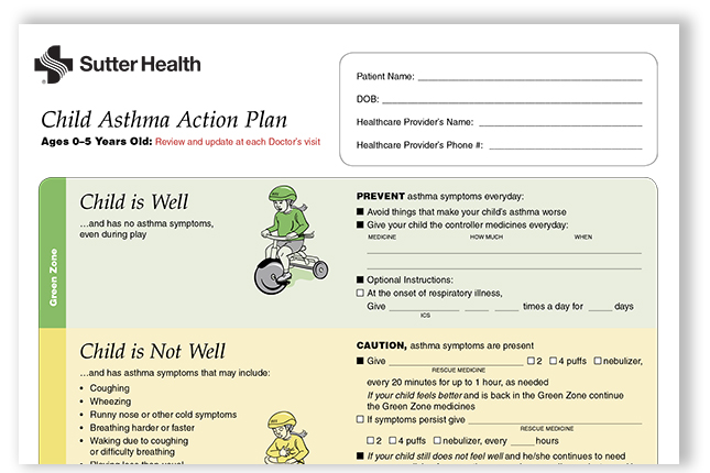 Asthma Action Plan for Children Ages 5 and Younger