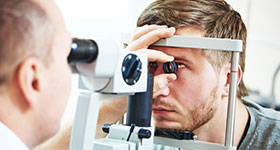 Male eye exam