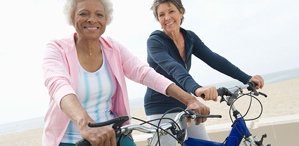 Senior          women on bikes