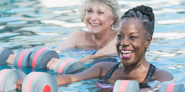 Two          senior women exercising in pool
