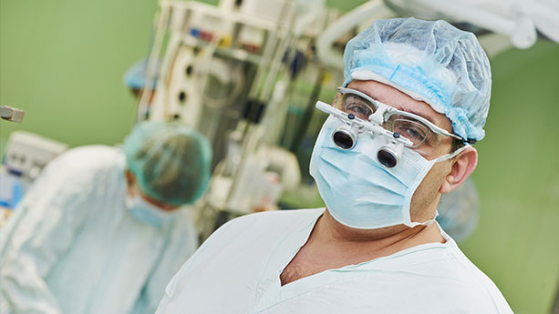 Neurosurgeon in operating room