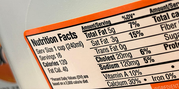 Example          of a nutrition label