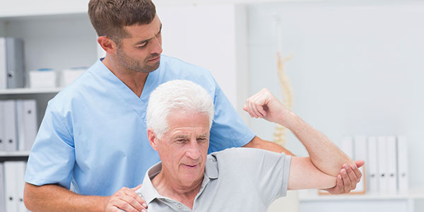 Senior caucasian man in physical therapy