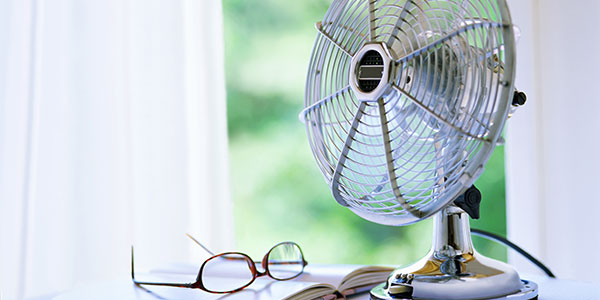 Electric fan on a desk