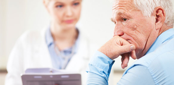 Elderly man with distressed look at doctor's office