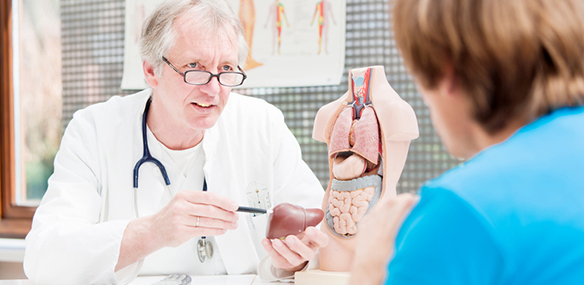 Mature doctor explaining liver problems to patient