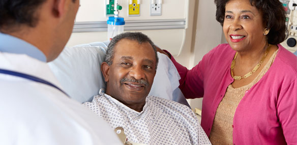 middle aged African American man in hospital