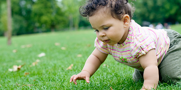 Baby          girl crawling in grass