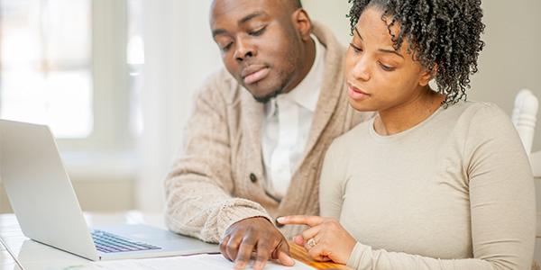 African American couple financial planning