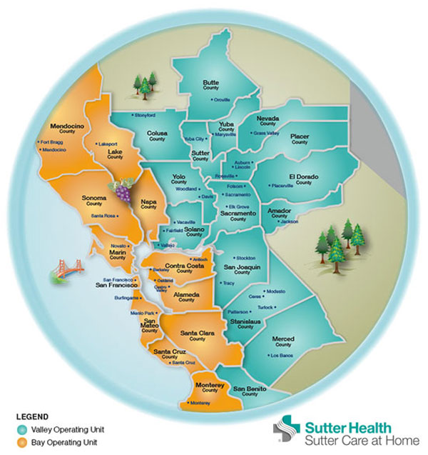 Map Of California Hospitals.Home Health And Hospice Care Sutter Health